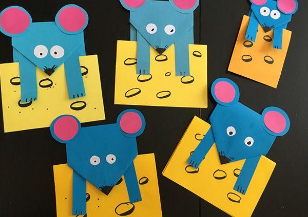 Поделка мышка из цветной бумаги