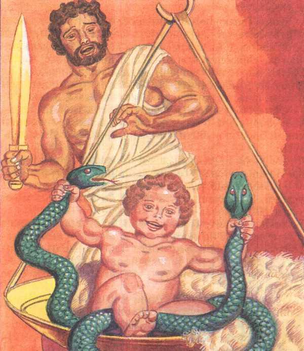 Рождение и воспитание Геракла, иллюстрация