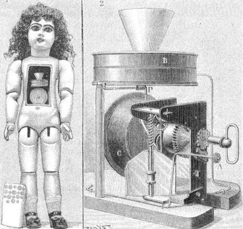 Фонограф Эдисона внутри куклы
