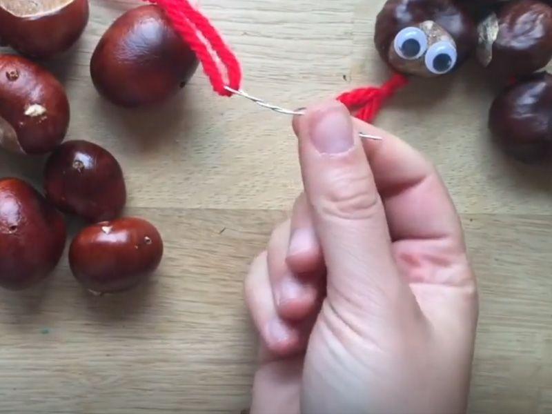Гусеница из каштанов